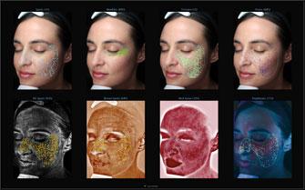In der Gesamtübersicht werden alle 8 verschiedenen Analysen sowie das relative Hautalter bildlich dargestellt.